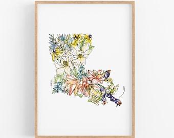 LOUISIANA Fine Art Print: Map of Louisiana featuring state wildflowers Art prints, Housewarming gift, anniversary gift, Christmas gifts