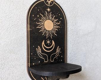 Altar shelf, crystal shelf, essential oil shelf, tarot holder