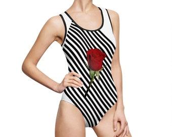 cc40d1385805da Striped Single Red Rose Classic One-Piece Swimsuit