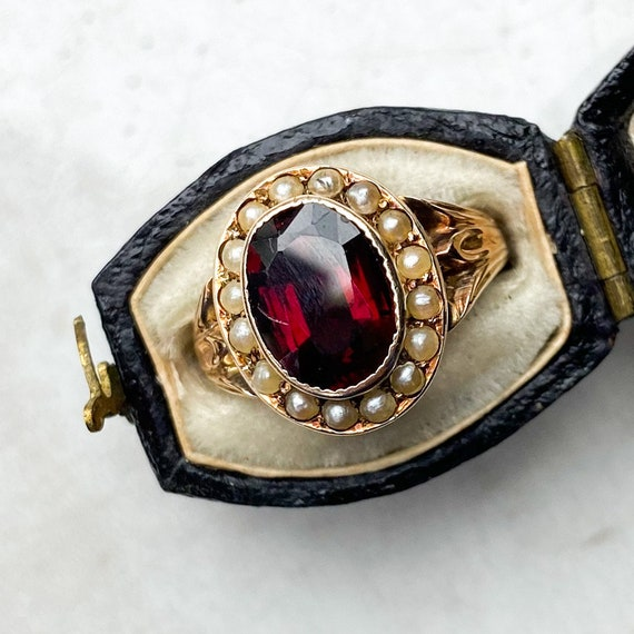 Garnet and Pearl Victorian Antique Ring