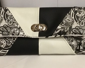 Purse, purse in faux leather black and white