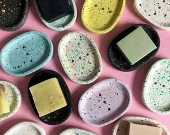 Terrazzo Soap Dish - Jesmonite Soap Dish - Soap Dishes - Handmade - Colourful Home - Handmade gift
