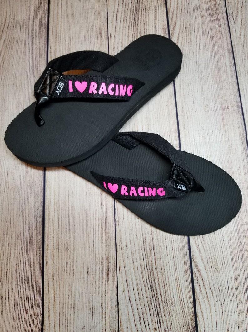 I Love Racing Flip Flops