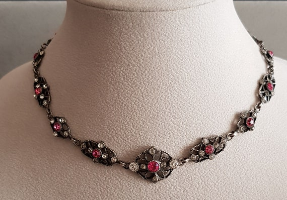Antique Victorian Silver Paste Riviere Necklace F… - image 1