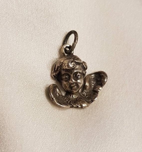 Antique French Silver Cherub Cupid Pendant