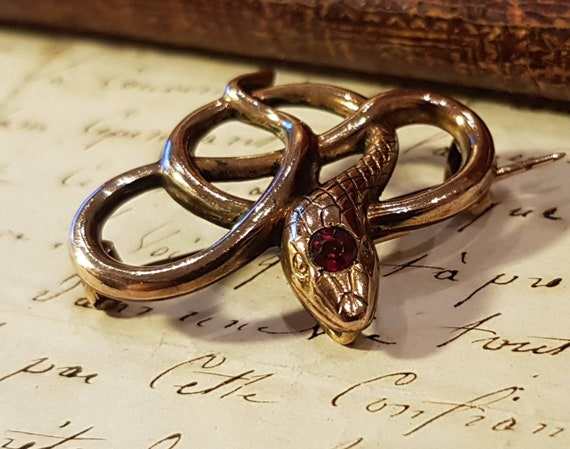 Antique Art Nouveau French Gold Filled Garnet Snak