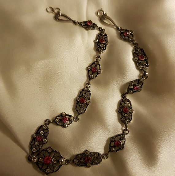 Antique Victorian Silver Paste Riviere Necklace F… - image 4
