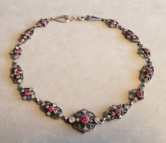 Antique Victorian Silver Paste Riviere Necklace F… - image 3