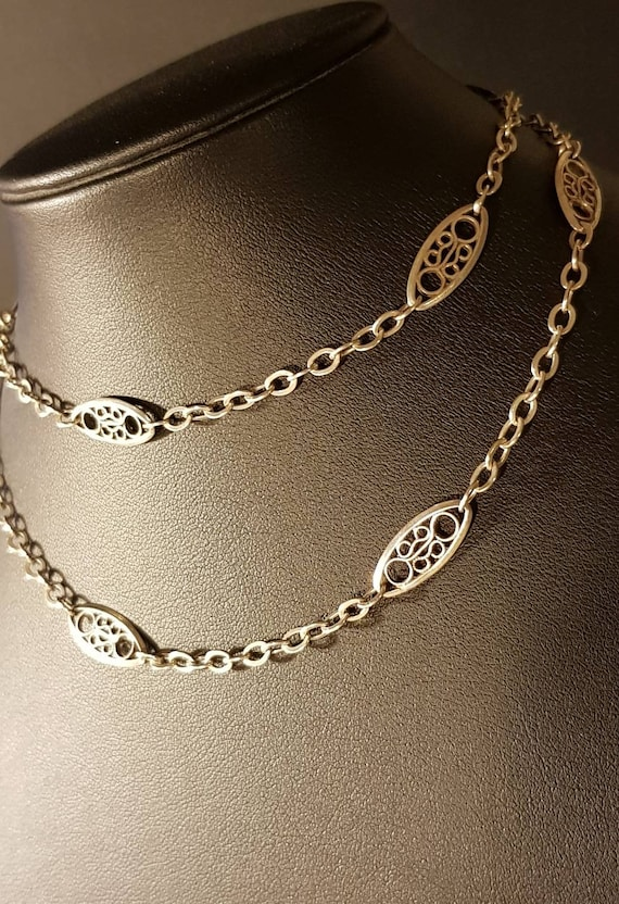 Edwardian French antique Silver Filigree Chain Nec