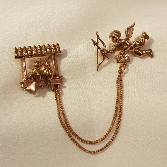 Vintage Gold Filled Brooch Belibon Bird anf Cupid