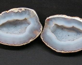 Quality 3.1 Matching Quartz lined Cut Polished Brazilian Agate Geode Pair