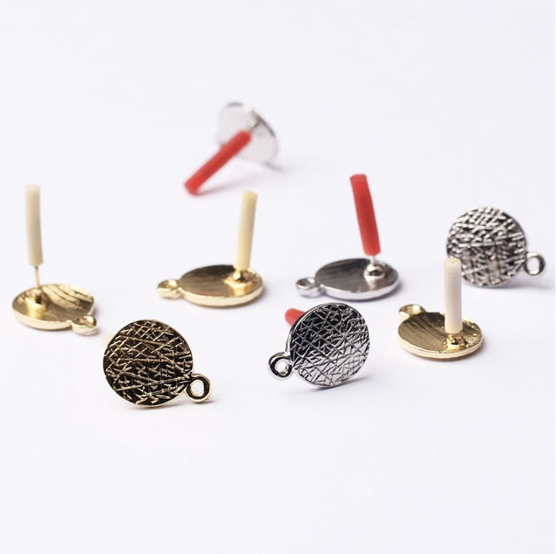 Silver-plated Earrings Components DIY Jewelry Making Wholesale ME2-27 6pcs Silver Round Circle Earring Posts Earring Studs with hoop