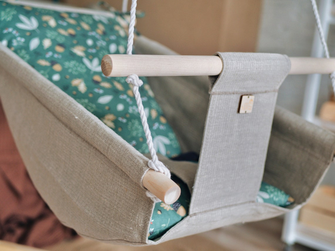 Baby free motion linen swing FOREST, snuggle baby nest, porch fabric swing, wooden hammock chair for toddlers and kids, newborn lounger