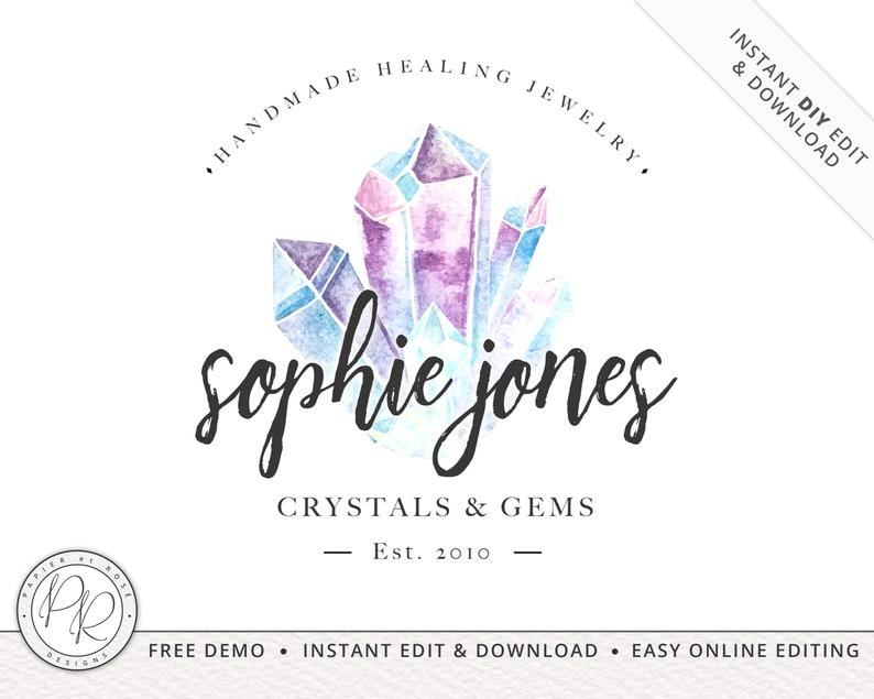 Watercolor Crystal Gems Spiritual Logo Design INSTANT DOWNLOAD image 0