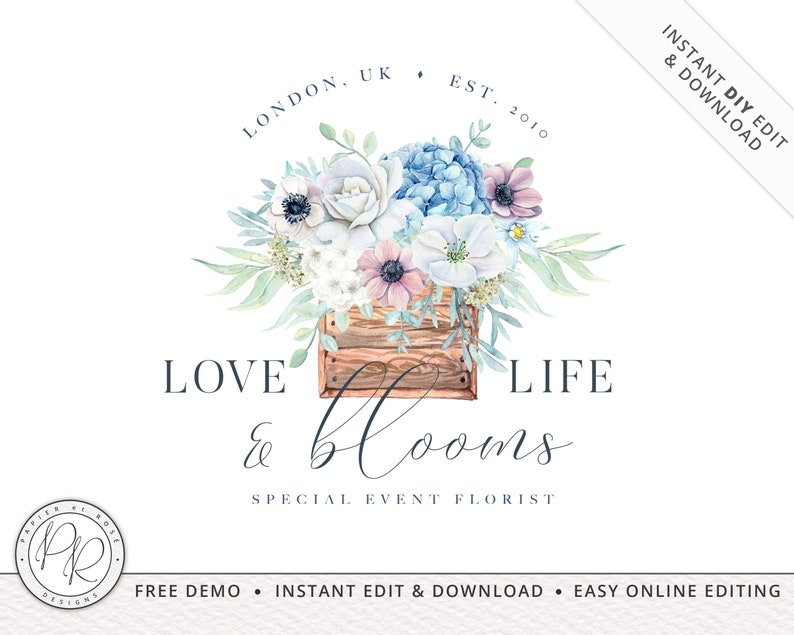 Premade Watercolor Floral Florist Logo Design INSTANT DOWNLOAD image 0