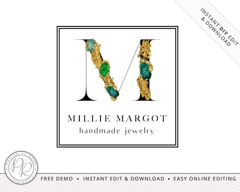 Premade Jewelled Initials Logo Design INSTANT DOWNLOAD  DIY image 0
