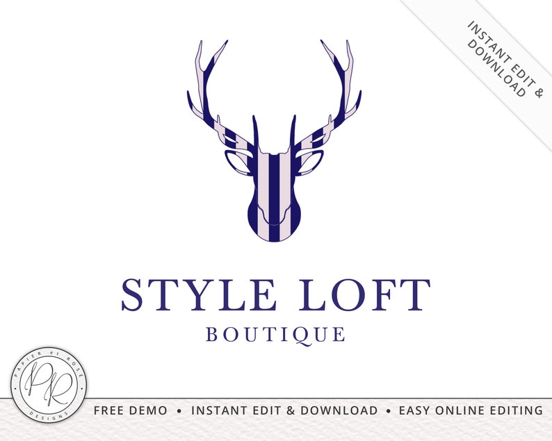 Premade Preppy Stag Logo Design INSTANT DOWNLOAD  DIY image 0