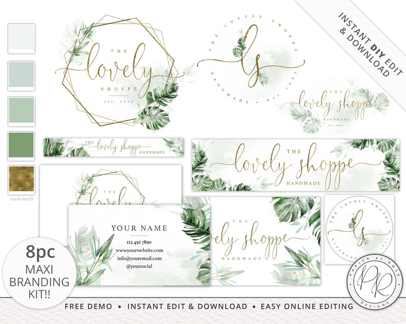 8pc Maxi Branding Kit Boho Green & Gold Foliage INSTANT image 0