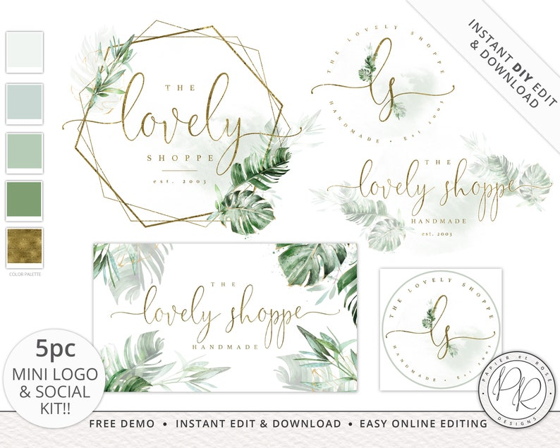 5pc Premade Mini Kit Logos Suite & Social Package Watercolor image 0