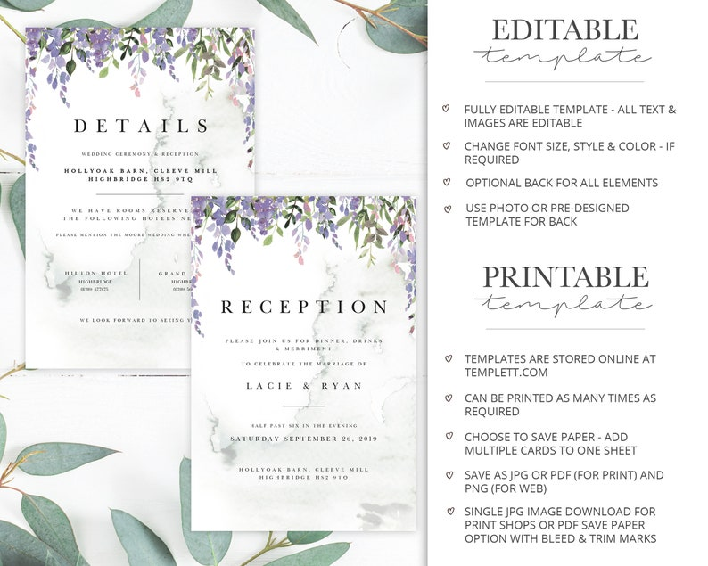 Printable Event Invitations Instant Download MINI SUITE Boho Florals /& Greenery Wedding Stationery Editable Template Bundle