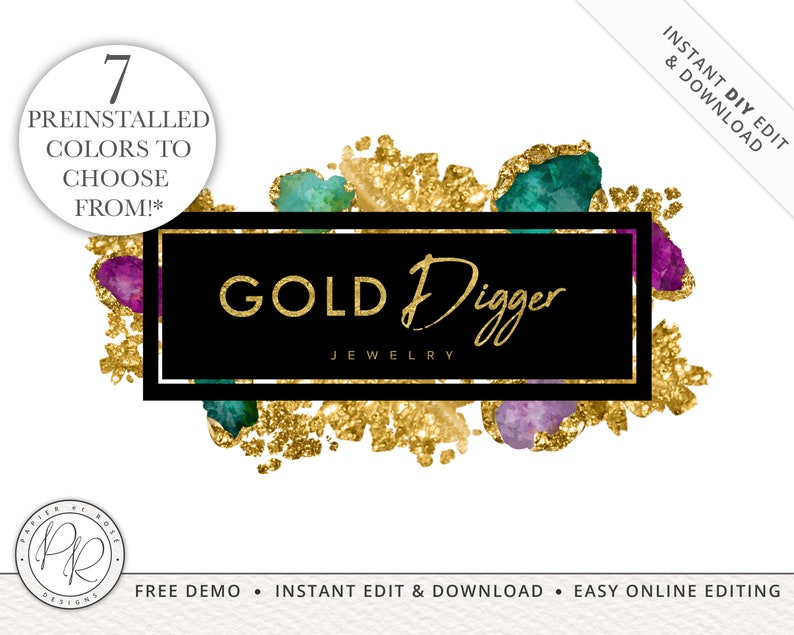 Premade Jewelled Jewelry Logo Design  7 PREINSTALLED COLORS  image 0