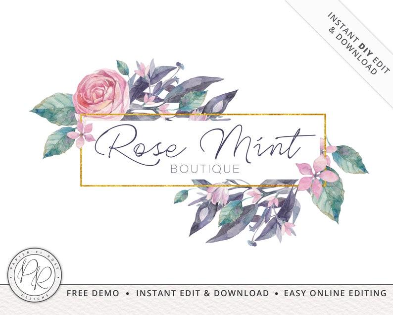 Premade Watercolor Floral Frame Feminine Logo Design INSTANT image 0