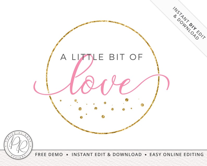 Minimalist Stamp Circular PREMADE Logo  INSTANT Edit Yourself image 0