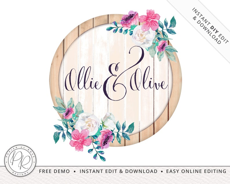 Rustic Wood Watercolor Florals Logo Design INSTANT DOWNLOAD  image 0