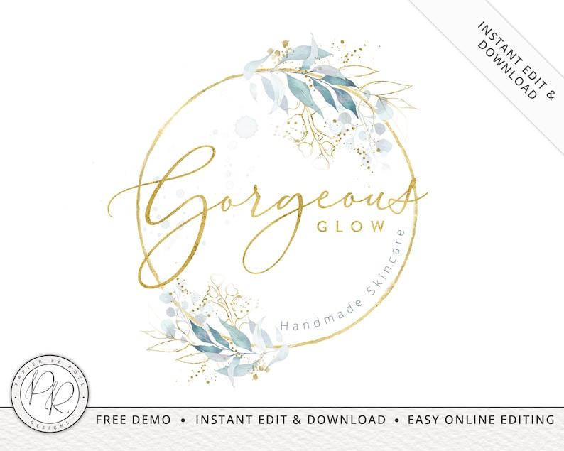 Boho Watercolor & Gold Foil Logo Design INSTANT DOWNLOAD  DIY image 0