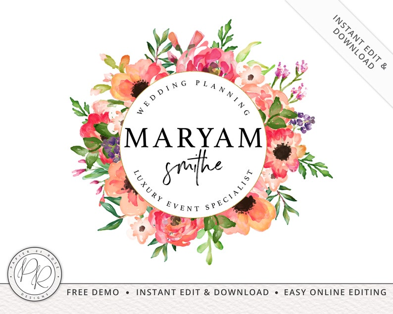 Boho Watercolor Bright Florals Logo Design INSTANT DOWNLOAD  image 0