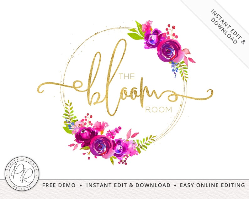 Watercolor Floral Circle Stamp Logo  INSTANT Edit Yourself image 0