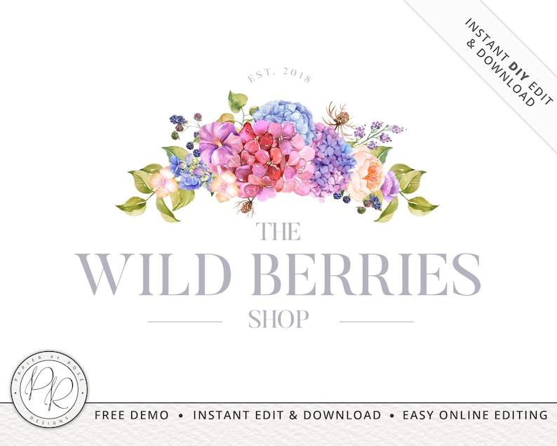 Premade Boho Watercolor Florals Logo Design INSTANT DOWNLOAD  image 0