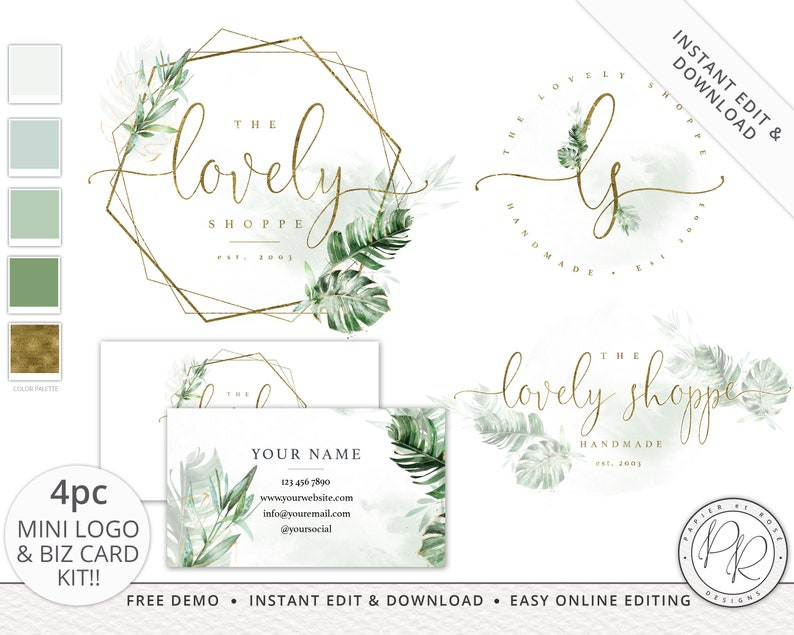 4pc Premade Boho Foliage Watercolor Logo Suite  Business Card image 0