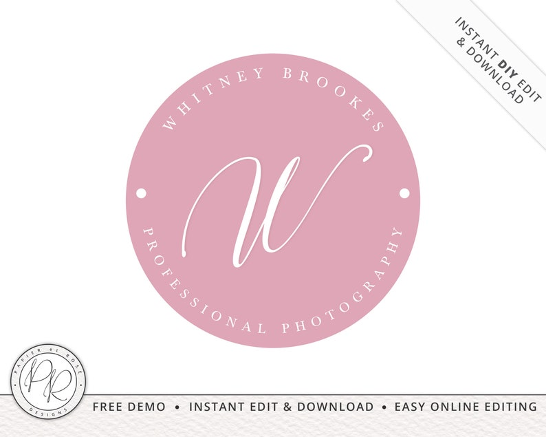 Premade Round Stamp Logo Design editable colors INSTANT image 0