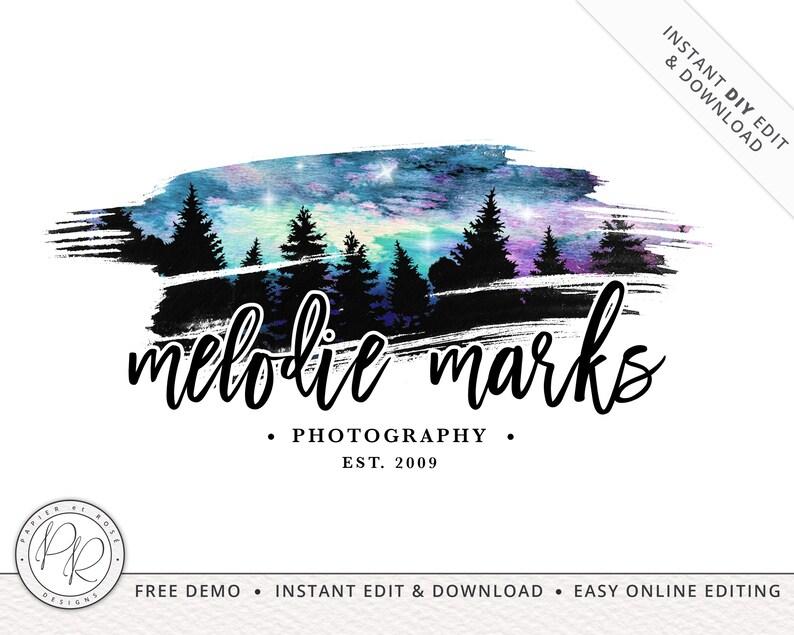Moody Watercolor Night Sky Logo Design INSTANT DOWNLOAD  DIY image 0