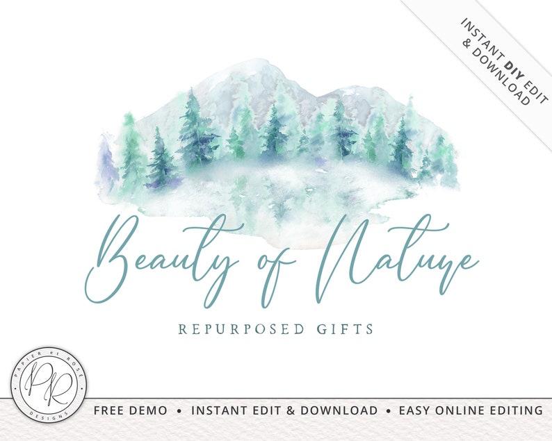 Boho Soft Watercolor Mountain Nature Logo Design INSTANT image 0