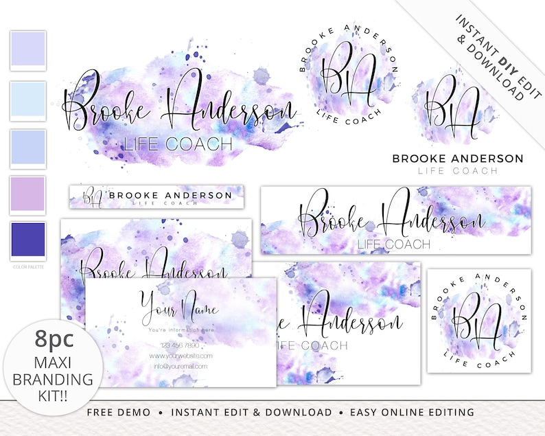 8pc Maxi Branding Kit INSTANT EDIT & DOWNLOAD Messy Watercolor image 0