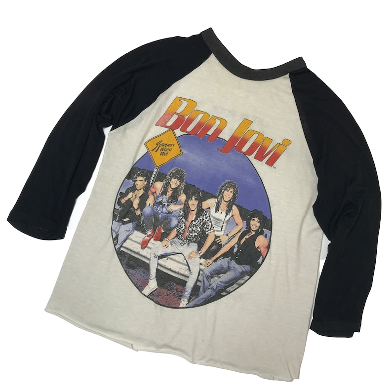 Vintage 80s BON JOVI Slippery When Wet Raglan Sleeve Band T-Shirt not acdc the who beatles john lennon korn ozzy depeche radiohead