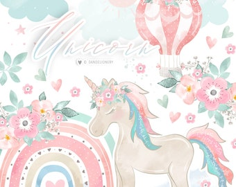 Unicorn Hot Air Balloon Rainbow Girl design, rainbows clipart, baby clipart, natural color, pastel, sun, rain, cloud, rain, nursery clipart