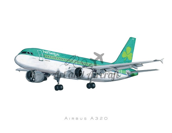 Aer Lingus Airbus A9 Drawing Art Print