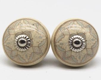 Brilliantly Hand Painted Ceramic knobs / Ceramic Drawer Pulls / Cabinet Knobs/ Kitchen Cabinet Door Handles / Cupboard Knobs