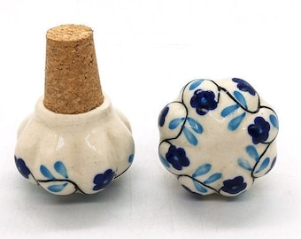 Vintage Bottle Stopper Blue Color Ceramic Handpainted Wine Bottle Stopper Handmade Ceramic Bottle Stopper Bottle Stopper