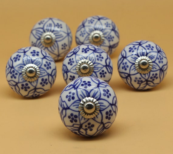 Brilliantly Hand Painted Ceramic Knobs, Hand Painted Porcelain Cabinet Knobs