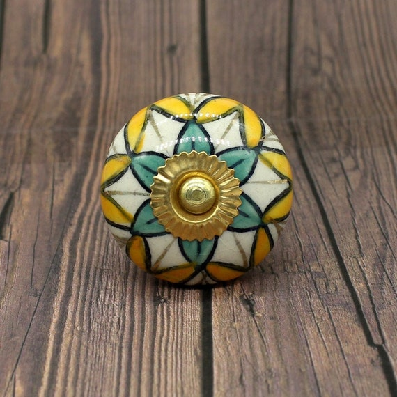 Multi Color Fl Round Shape Hand, Hand Painted Round Cabinet Knobs