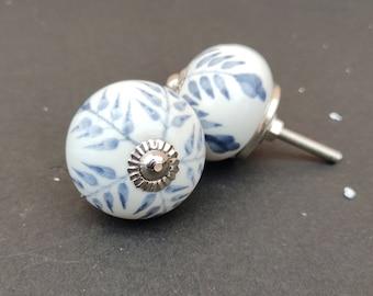 WHITE And GREY Knob Round shape Hand painted ceramic knob, Decorative Ceramic knob,drawer pull