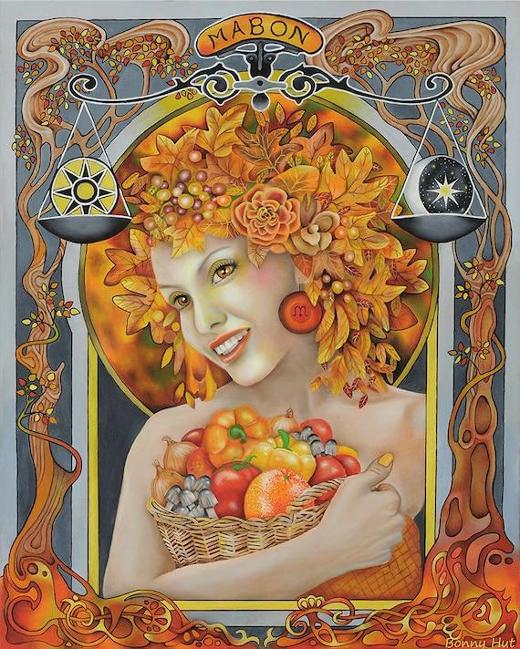 Mabon Autumn Equinox Pagan Sabbat Art Wiccan Altar Print | Etsy