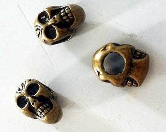 Dreadlock Accessories Skull Dreadlock Bead  CUSTOM Bead Hole Dreadlock Jewelry Loc Beads Black or White is Paintable Paracord Beads