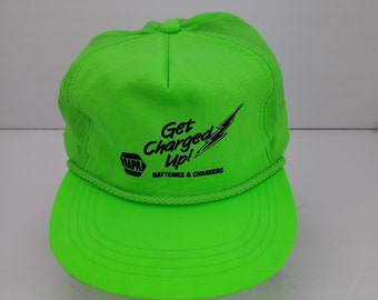 c31ab3d1a9d691 Vintage Snapback Trucker Farmer Hat | NAPA Neon Green Auto Parts Rope Trim  Yupoong 70's 80's 90's
