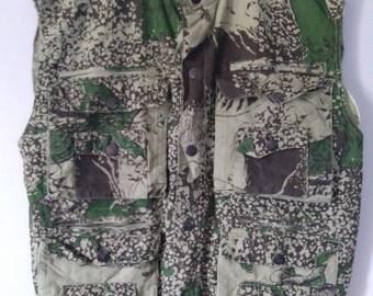 6c3fba7aeb331 Vintage Rare Rambo Camo Camouflage Vest Hunting Fishing Military African  Safari Men's Sleeveless Made Kenya Multi Pockets Jacket