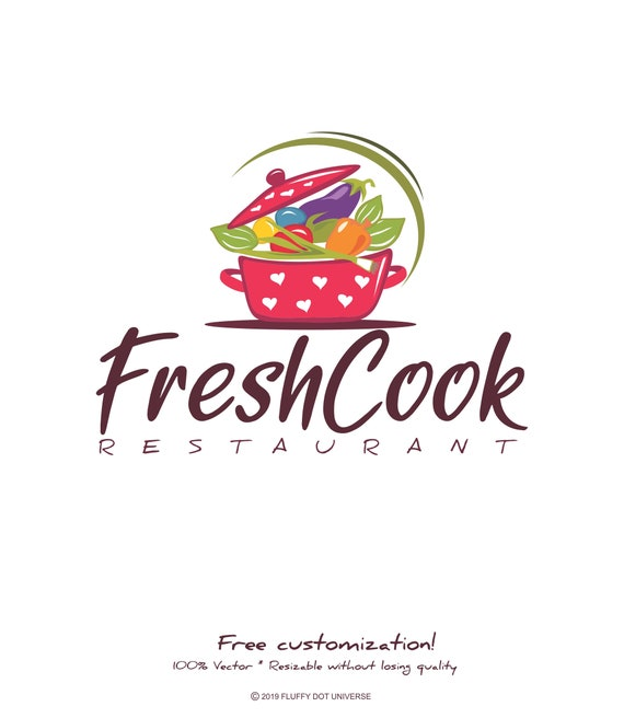 Fresh Cook Logo Recipe Logo Kitchen Logo Dish Logo Pot Logo Cooking Logo Restaurant Logo Food Logo Vegetable Logo Cook Logo Chef